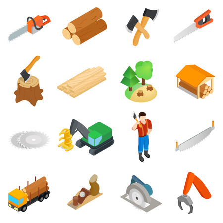 crosscut: Lumberjack icons set in isometric 3d style isolated on white