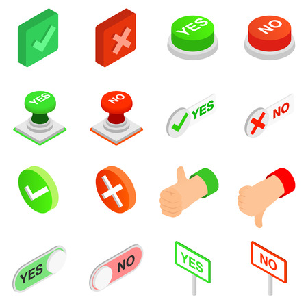 yes: Check mark Yes and No icons set in isometric 3d style