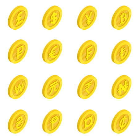 Currency icons set in isometric 3d style isolated on white Illustration