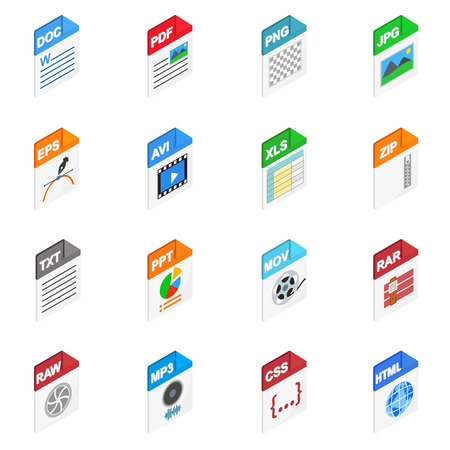 file types: File Types icons in isometric 3d style isolated on white