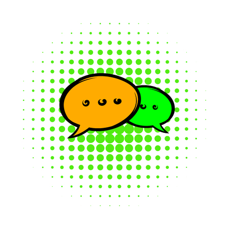 chat: Speach bubles icon in comics style on a white background