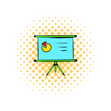 presentation screen: Presentation screen icon in comics style on a white background Illustration