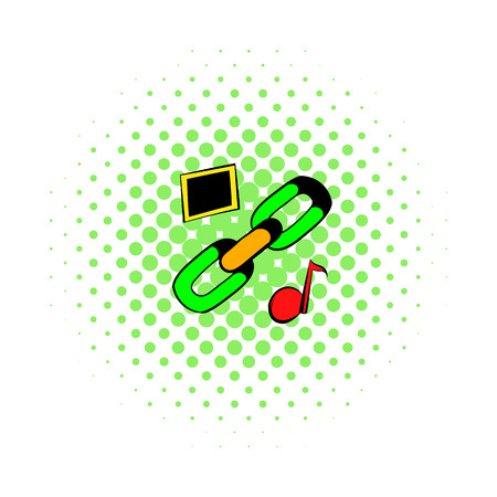 shackle: Chain link icon in comics style on a white background