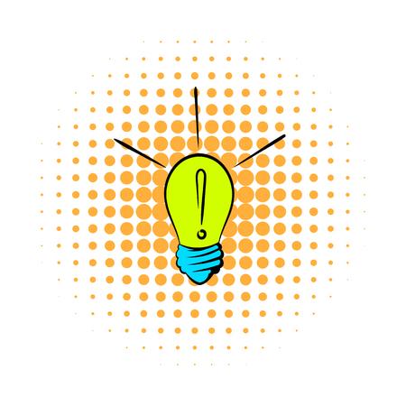 Exclamation dans une icône ampoule dans la bande dessinée de style sur un fond blanc