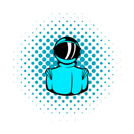 spacesuit: Astronaut in spacesuit icon in comics style on a white background