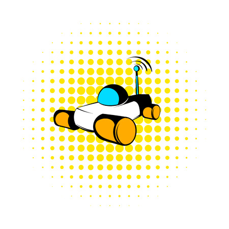 lunar rover: Mars exploration rover icon in comics style on a white background