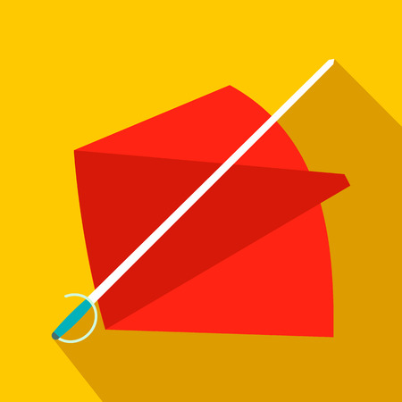 cruelty: Red cape and sword icon in flat style on a yellow background