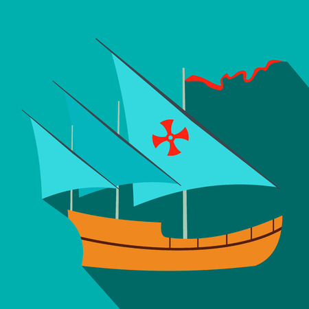 maria: Santa Maria sailing ship icon in flat style on a blue background