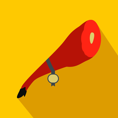 iberian: Jamon icon in flat style on a yellow background