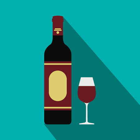 taster: Red wine bottle and glass icon in flat style on a blue background Illustration