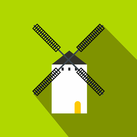 Spanish windmill icon in flat style on a green background
