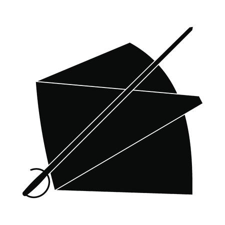 Capo e la spada icona di stile semplice isolato su sfondo bianco