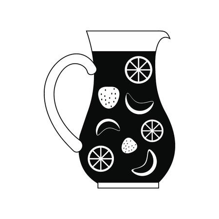 Kruik en glas verse sangria icoon in eenvoudige stijl op een witte achtergrond Vector Illustratie