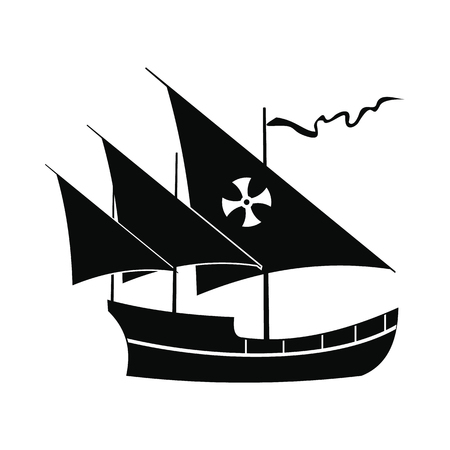 black maria: Santa Maria sailing ship icon in simple style isolated on white background