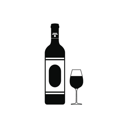 taster: Wine bottle and glass icon in simple style isolated on white background