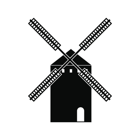 don: Spanish windmill icon in simple style isolated on white background