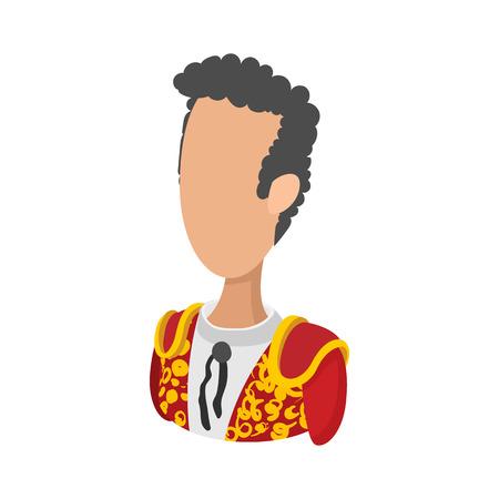 bullfighting: Spanish torero, matador, bullfighter icon in cartoon style on a white background