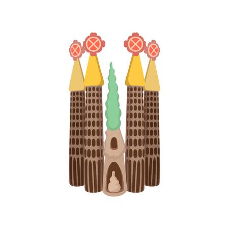 Sagrada Familia, Barcelona icon in cartoon style on a white background