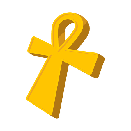 ankh: Egyptian Ankh icon in cartoon style on a white background