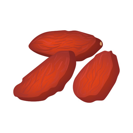 the kernel: Almonds icon in cartoon style on a white background Illustration