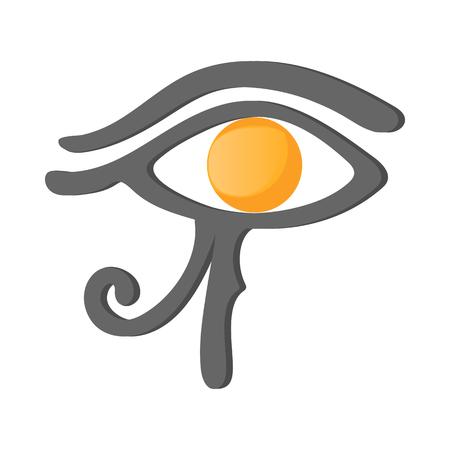 ojo de horus: Ojo de Horus en icono de estilo de dibujos animados sobre un fondo blanco