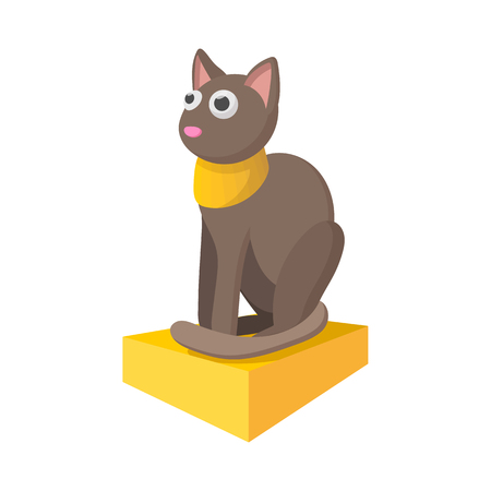 흰색 배경에 만화 스타일로 이집트 고양이 아이콘
