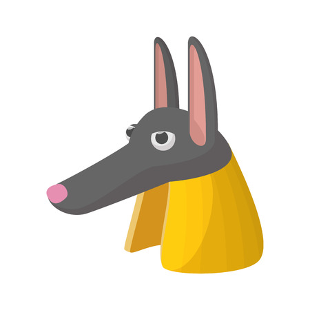 cult tradition: Anubis head icon in cartoon style on a white background
