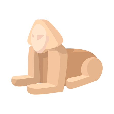 iconic architecture: Sphinx icon in cartoon style on a white background