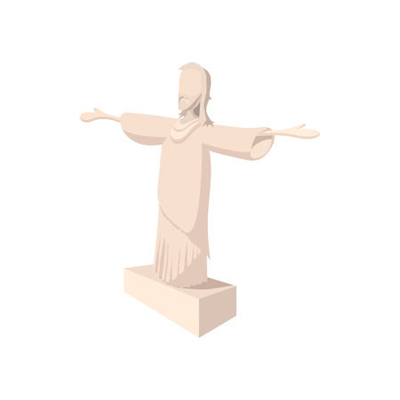 christianism: Statue of Jesus Christ, Rio de Janeiro icon in cartoon style on a white background Illustration