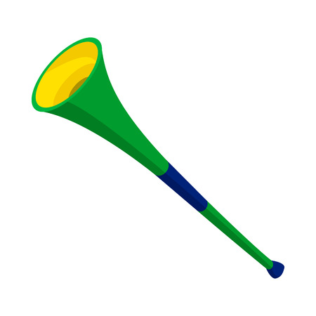 vuvuzela: Vuvuzela trumpet icon in cartoon style on a white background