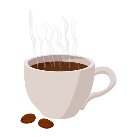 handful: Cup of coffee icon in cartoon style on a white background