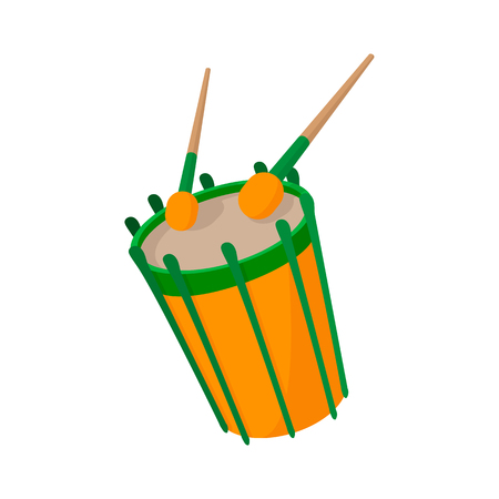 drumsticks: Drum and drumsticks icon in cartoon style on a white background