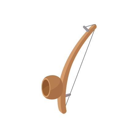 resonator: Berimbau, percussion instrument icon in cartoon style on a white background