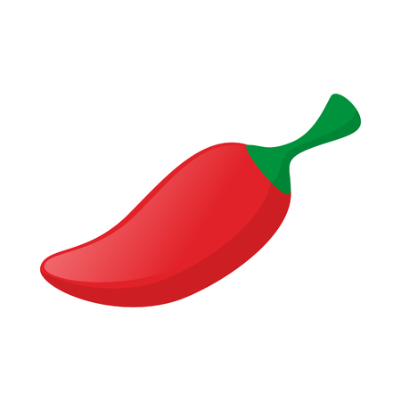 capsaicin: Red hot chili pepper icon in cartoon style on a white background