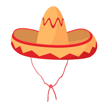 mexican cartoon: Sombrero icon in cartoon style on a white background