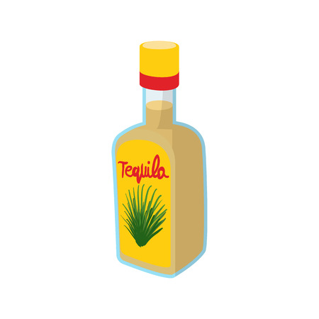 cartoon bottle: Tequila bottle icon in cartoon style on a white background
