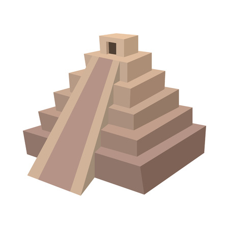 ancient civilization: Mayan pyramid, Mexico icon in cartoon style on a white background Illustration