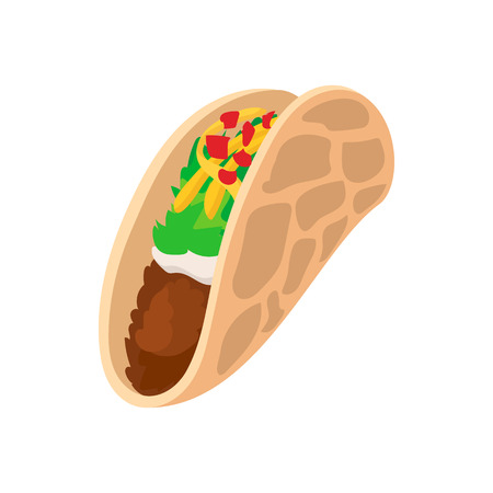 fajita: Tortilla wrap with meat and vegetables icon in cartoon style on a white background