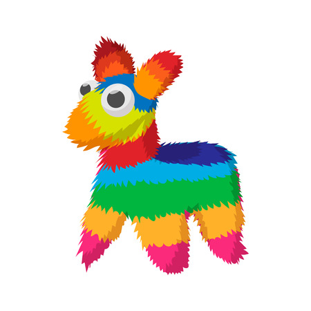 Colorful donkey icon in cartoon style on a white background