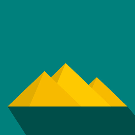 Pyramids of Egypt icon in flat style on a blue background