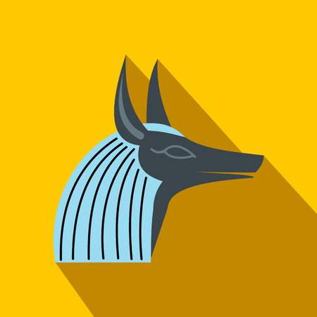 anubis: Anubis head icon in flat style on a yellow background Illustration
