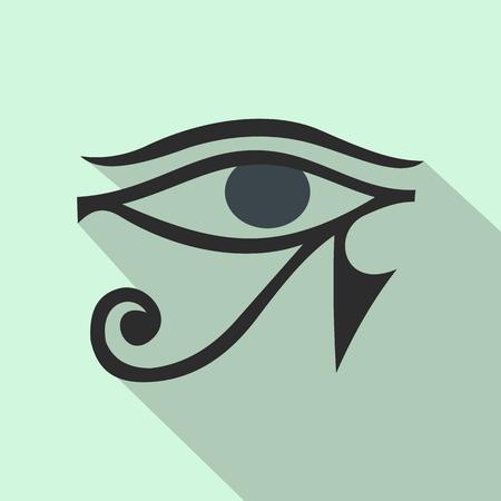 ojo de horus: Ojo de Horus en icono de estilo plano sobre un fondo azul claro Vectores
