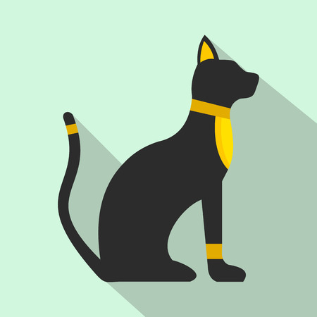 relic: Black Egyptian cat icon in flat style on a light blue background