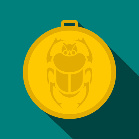 scarab: Gold scarab amulet icon in flat style on a blue background