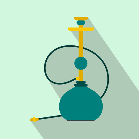 inhalation: Hookah icon in flat style on a light blue background Illustration
