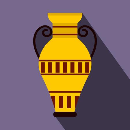 Égyptien icône de vase dans un style à plat sur un fond violet