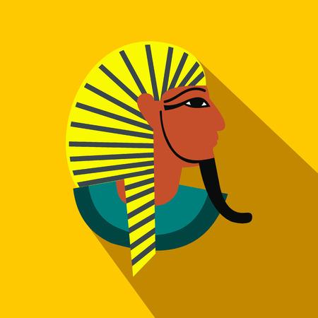 tutankhamen: Egyptian pharaoh icon in flat style on a yellow background