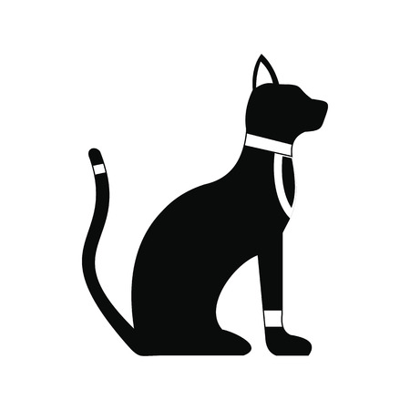 rarity: Black Egyptian cat icon in simple style isolated on white background Illustration