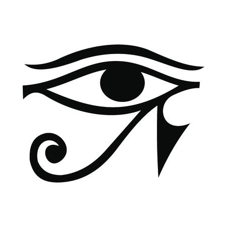 ojo de horus: Ojo de Horus en icono de estilo simple aislado en el fondo blanco