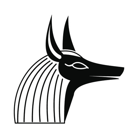 anubis: Anubis head icon in simple style isolated on white background